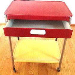 Antique Enamel Industrial Cart by The Newton Label - This vintage enamel industrial cart would look fantastic as a bedside table or in a hall or living room. That red color is great.