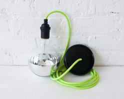 Neon Green/Yellow Pendant Light By Earth Sea Warrior - Add a touch of neon and whimsy with this pendant light covered in green neon cloth.
