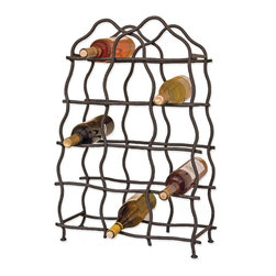 Mathews & Company - South Fork 14-Bottle Wine Rack - South Fork 14 Bottle Wine Rack will display your wine with a rugged, hand-hewed, rustic style. This heavy wrought iron wine rack is uniquely and elegantly designed to hold 14-bottles and will show off your wine at its best. This free standing rack will hold your bottles at the proper angle to make sure the corks stay wet. The South Fork 14 Bottle Wine Rack features a rugged wrought iron finish combined with a hand-crafted wave design will complement any kitchen, dining or living area.