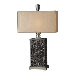 Uttermost - Alita Black Table Lamp - Ready for my close up, Mister Deville! All dressed up in black woven metal, shiny nickel accents and a matching rectangular linen box shade, this table lamp is ready to light up your decor. Give this stately lamp the star treatment at your buffet or console table.