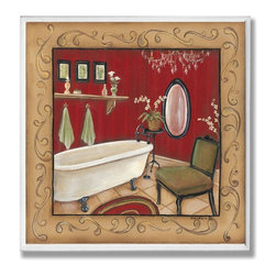 Stupell Industries - Red Bathtub with Scroll Border Wall Plaque - Made in USA. Ready for Hanging. Hand Finished and Original Artwork. No Assembly Required. 12 in L x .5 in W x 12 in H (2 lbs.)Made in USA! Point your guests in the right direction with elegant bathroom plaques from The Stupell Home decor CollectionEach plaque comes with a sawtooth hanger for easy installation on bathroom doors or walls.