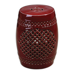 Uttermost - Peizhi Ceramic Garden Stool - Add an Asian classic garden stool to your decor for a rich, bold accent. The oxblood ceramic base is hand cut and has natural clay undertones to add depth and interest. It's tough enough to be a side table in your garden, or you could store extra towels inside it in the bathroom. Or in your living room it would be a punch of color with an airy cutout feel.