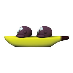 Alessi - Alessi 'Banana Bros' Salt and Pepper Set - These cozy monkeys look like they're loving life, as they go with the flow in their yellow kayak — or is it a banana boat? The duo is actually a delightful set of salt-and-pepper shakers, sure to add a little monkey business to your kitchen.