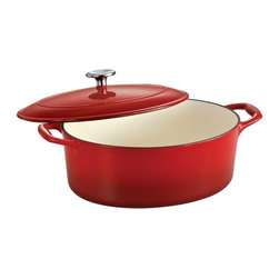 Tramontina - Tramontina Gourmet Enameled Cast Iron Covered Oval Dutch Oven - Gradated Red Mul - Shop for Dutch Ovens from Hayneedle.com! Oval-shaped so it's perfect for roasts the Tramontina Gourmet Enameled Cast Iron Covered Oval Dutch Oven - Gradated Red is an essential addition to your well-stocked kitchen. It's oven-safe up to 450 degrees F and this Dutch oven is made from red-enameled cast iron for even heating every time. It comes in your choice of size and the included lid is ridged to self-baste.About Tramontina USAOriginally founded in Brazil the versatile Tramontina has been a leading manufacturer and distributer to national and international retailers for over a century. In 1986 Tramontina USA was founded in Sugar Land TX where it has been proudly carrying the company banner in the United States. The Tramontina group operates 11 modern factories and 12 distributing centers worldwide. A leading manufacturer of household goods ranging from cutlery to flatware and kitchen utensils the group effectively invests in product research development and innovation to provide superior products and unmatched customer service.