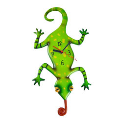 Allen Designs - Allen Designs Gecko Lizard Pendulum Wall Clock - This whimsical lizard pendulum clock is called `Gecko` and is by Allen Designs. Made of cast resin, this crazy lizard hangs upside down on the wall, and his curly tongue swings back and forth. The clock is hand-painted and coated in polyurethane to keep the colors bright and give it a glossy look. It measures 16 inches high, including the pendulum, and is 10 inches wide. It`s a must-have for gecko lovers.