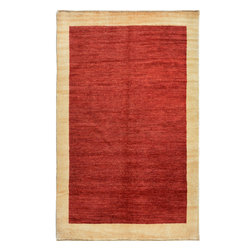 """ALRUG - Handmade Red/Rust Oriental Gabbeh Rug 4' 5"""" x 6' 8"""" (ft) - This Pakistani Gabbeh design rug is hand-knotted with Wool on Cotton."""