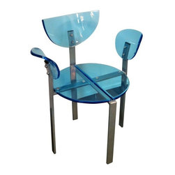 """Used Blue Acrylic and Metal Dining Chair - Too cool for school, but perfect for your dining room. Retro meets modern with this blue acrylic dining chair, that sits on a silver metal frame. It's in excellent vintage condition. Arm height: 27.5""""; Seat height: 18"""".    Please note, the seller has four of these chairs available. If you are interested in purchasing multiples, please email: support@chairish.com."""
