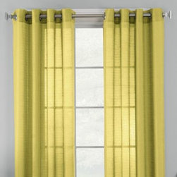 "Corona Curtain Mfg. Co, Inc. - Knox Grommet Semi-Sheer Window Curtain Panels - These attractive, semi-sheer window curtain panels feature a textured, varying-striped fabric. The panels provide a luxurious, decorator's look to any room and easily hang with grommets. The panels are sold individually and measure 50"" wide each."
