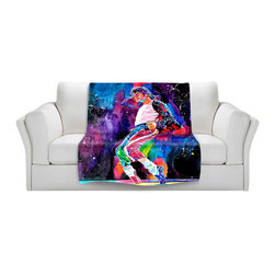 DiaNoche Designs - Throw Blanket Fleece - Michael Jackson - Original Artwork printed to an ultra soft fleece Blanket for a unique look and feel of your living room couch or bedroom space.  DiaNoche Designs uses images from artists all over the world to create Illuminated art, Canvas Art, Sheets, Pillows, Duvets, Blankets and many other items that you can print to.  Every purchase supports an artist!