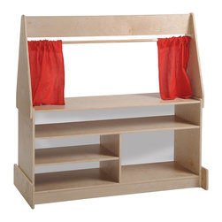 Ecr4kids - Ecr4Kids Puppet Theater With Dry-Erase Board - Birch Puppet Theater with Dry-Erase presentation board and marquee panel. All the world