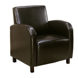 Monarch Specialties - Monarch Specialties I 8050 Dark Brown Leather-Look Accent Chair - Smooth curves and a bold design make this upholstered arm chair a must-have accent piece for your home. The square seat and high seat back provide supportive comfort while sleek track arms round out the design with chic and sophisticated curves. Simple post legs in a dark cappuccino finish your choice of dark brown, burgundy or beige leather look material. Accent Chair (1)
