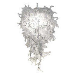 EcoFirstArt - Burr Thistle Chandelier - This beautiful trellising chandelier will awe your guests when you reveal that it was created from recycled bottles and cans. Ecochic has never been more illuminating than in this graceful adjustable pendant light.