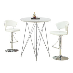 "Monarch Specialties - Monarch Specialties 2346 3 Piece Glossy White Round Bar Table Set w/ 2301 Barsto - Create a trendy contemporary look with this glossy white 36"" diameter bar table.  This piece features sleek chrome metal legs and a smooth surface ideal for drinks and tapas. This table is great for entertaining guest especially in smaller spaces."