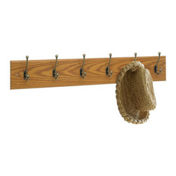 Safco - Safco 6 Hook Wood Wall Coat Rack in Medium Oak (Set of 6) - Safco - Coat Racks - 4217MO - These 6 hook hardwood coat rack panels can be mounted alone or in a series as needs grow. Ball tipped hooks protect garments while keeping them firmly in place. Packed 6 per carton.