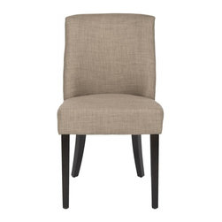 Safavieh - Emrson Side Chair - Beautiful from any angle, the Emrson side chair sports linen blend upholstery fabric in olive green. With plush seat cushion and curved back with silver nail head detailing, Emrson envelopes your guests in style. Legs are birch wood in espresso finish.