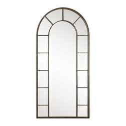 Uttermost - Dillingham Black Arch Mirror - You'll think you're living in a garden with this trellis-shaped arched mirror. The light rust distressing adds just the right effect of age gained through being in the elements. Add a couple of potted trees and you might be tempted to try to walk through.