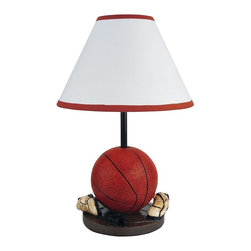 ORE International - 15 in. Basketball Base Themed Accent Lamp - Requires 1 40W bulb (bulb not included). Cone-shaped shade. Basket ball and shoes accented the lamp pole. Polynesian base. White linen shade. Red and Brown finish. 10 in. L x 10 in. W x 15 in. H (5 lbs.)Ideal for Kid's bedroom. Sports lovers will adore this playful basketball themed lamp, a fun accent on a bedside table or to add a personal touch to an office, rec room or study.