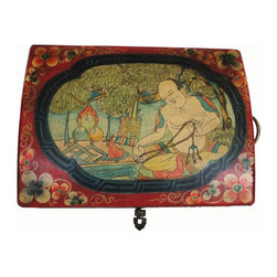 Golden Lotus - Tibetan Style Leather Graphic Rectangular Box - This is box covered with a layer of artificial leather. The graphic is Tibetan culture or scenery of daily life.