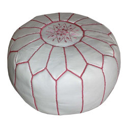 Badia Design Inc. - Moroccan Round Leather Ottoman, White with Pink Stitching - Our Moroccan Leather Ottoman can be used as seating, footstool or decoration in any room in your home or office.
