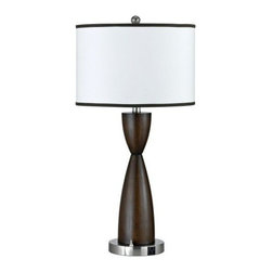 CAL Lighting - Espresso Faux Wood Hourglass Table Lamp by Universal Lighting and Decor - 60Wx2, 2 Base Rocker Switch, 1 Outlet