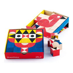 MillerGoodman - MillerGoodman - ShapeMaker 25 Wood Blocks - Winner of a gold award at the 2009 Practical Pre-School awards. ShapeMaker is a set of 25 colorful, geometric design, hand printed, beautifully crafted, environmentally friendly hardwood blocks made of rubber wood - a sustainable wood. The blocks can be excitingly arranged to create a menagerie of thousands of surprising creatures and tons of sparkling, imaginative, engaging images that guarantee to delight children of all ages. The blocks perfectly illustrate MillerGoodmans commitment to combine function with the highest design principles, producing beautiful, sensitive New Classics in the childrens market. Includes design suggestions.