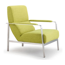 Jonkoping Arm Chair, Lime - Fabric & Brushed Stainless Steel.