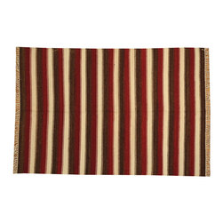 Durie Kilim 5'x7' Striped 100% Wool Flat Weave Hand Woven Oriental Rug SH14917 - Soumaks & Kilims are prominent Flat Woven Rugs.  Flat Woven Rugs are made by weaving wool onto a foundation of cotton warps on the loom.  The unique trait about these thin rugs is that they're reversible.  Pillows and Blankets can be made from Soumas & Kilims.