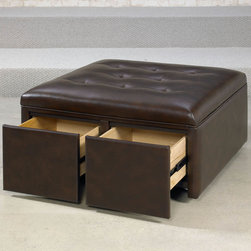 """Hammary - Hidden Treasures Square Cocktail Ottoman/Cantina Cocoa - """"Hammary's Hidden Treasures collection is a fine assortment of unique accent pieces inspired by some of the greatest designs the world over. Each selection is rich in Old World icons and traditions."""