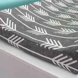 Charcoal Arrow Contoured Changing Pad Cover by Iviebaby - Why settle for a plain old diaper pad cover when you can have something fresh and fun like this? The arrow print in gray is one of my favorites, but there are lots more to choose from in this shop.