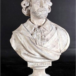 Design Toscano - Design Toscano 31 in. William Shakespeare Sculptural Bust - NE86794 - Shop for Sculptures Statues and Figurines from Hayneedle.com! The Design Toscano 31 in. William Shakespeare Sculptural Bust is a grand-scale bust artistically replicated from the original 19th-century English antique. This impressive life-size sculptural bust is cast in designer resin with a faux stone finish to make a sophisticated statement piece for your home or garden. About Design ToscanoDesign Toscano is the country's premier source for statues and other historical and antique replicas which are available through the company's catalog and website. Design Toscano's founders Michael and Marilyn Stopka created Design Toscano in 1990. While on a trip to Paris the Stopkas first saw the marvelous carvings of gargoyles and water spouts at the Notre Dame Cathedral. Inspired by the beauty and mystery of these pieces they decided to introduce the world of medieval gargoyles to America in 1993. On a later trip to Albi France the Stopkas had the pleasure of being exposed to the world of Jacquard tapestries that they added quickly to the growing catalog. Since then the company's product line has grown to include Egyptian Medieval and other period pieces that are now among the current favorites of Design Toscano customers along with an extensive collection of garden fountains statuary authentic canvas replicas of oil painting masterpieces and other antique art reproductions. At Design Toscano attention to detail is important. Travel directly to the source for all historical replicas ensures brilliant design.