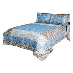 Blancho Bedding - Midsummer Dream Cotton 3PC Vermicelli-Quilted Patchwork Quilt Set  Full/Queen - The [Midsummer Dream] Quilt Set (Full/Queen Size) includes a quilt and two quilted shams. This pretty quilt set is handmade and some quilting may be slightly curved. The pretty handmade quilt set make a stunning and warm gift for you and a loved one! For convenience, all bedding components are machine washable on cold in the gentle cycle and can be dried on low heat and will last for years. Intricate vermicelli quilting provides a rich surface texture. This vermicelli-quilted quilt set will refresh your bedroom decor instantly, create a cozy and inviting atmosphere and is sure to transform the look of your bedroom or guest room. (Dimensions: Full/Queen quilt: 88.5 inches x 88.5 inches Standard sham: 24 inches x 33.8 inches)