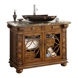 """Benton Collection - 42"""" Gorgeous Vigo Vessel Sink Bathroom Vanity #Hf1217Gf - This VIGO with marble top single sink bathroom Vanity is absolutely gorgeous anyway you look at it. From the wooden pattern door design to the simply stunning glass vessel bowl sink, it's a true pleasure to look at. Not just eye appealing, it's quite functional as well."""