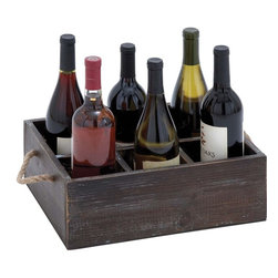 Benzara - Wine Tray Crafted with Six Storage Compartments - A perfect combination of simplicity and elegance, the Wood Wine Tray is designed with great attention to details. Designed with six square compartments, this wine tray allows you to safely place six wine bottles in a horizontal position. With its charming, weathered design, this wine tray offers versatile functionality that allows you to store and display your wine collection when entertaining guests during casual gatherings. This wood tray also has sturdy rope handles that offer a comfortable, secure grip for easy portability from the kitchen to the dining area. Crafted from solid wood, this wine tray is a wonderful mix of durability and functionality and is sure to last you long. This stylish tray offers optimum storage space and is will make a wonderful addition to the study and keep wine bottles in an organized manner.