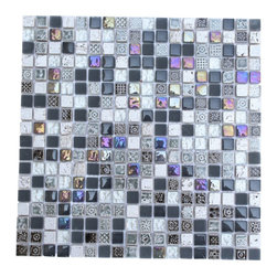 Alloy Deco Surf Gray Tile - For those who don't want something too dark or something too light, this glass mosaic tile is just right. A sprinkling of frosted, polished gray and black glass, with enough metallics mixed in for good measure, each one is backed with mesh that makes for easy application and creative placement.