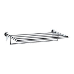 "Ginger Kubic 24"" Metal Shelf with Towel Bar in Chrome - I like the straight clean lines of this shelf and would use it in a contemporary or minimalist bath."