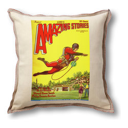 "Museum of Robots - Pillow Cover: Amazing Stories August 1928, Natural Linen Trim - Brighten up the place with one of our pillow covers. This cover art from the August 1928 issue of Amazing Stories features the ""Rocket Man"" art of Frank R. Paul, father of sci-fi illustration. Flashy."