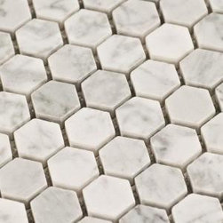 "$10.95SF Carrara Hexagon Marble Mosaic Tile - Carrara Venato 1"" Hexagon mosaic offers a stunning whiter appearance to that of the Carrara Bianco collection an appearance that resembles Statuario and features spectacular random streaks of grey. The Carrara Venato collection is a classic color of timeless beauty. Carrara Venato by Traditions in Stone is an exclusive marble collection for The Builder Depot. This Carrara collection adds an extremely elegant touch to any space residential or commercial with subtle beauty and smooth textures. The Carrara Venato collection of Subway Carrara Tiles, Hexagon, Herringbone, Octagon and Basketweave mosaics meticulously record the passage of time and play it back through a visual display of stunning color and texture"