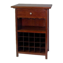 Winsome Wood - Wine Cabinet - Our Wine Cabinet that comes with a drawer and a glass rack, holds 20 bottles alongwith wine glasses, and a drawer for accessories. This Cabinet holds everything necessary for preparing and enjoying a glass of wine and is made of solid wood.