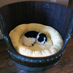 Wine Barrel Pet Bed by Wine Barrel Woodcraft - Don't forget Fido! How clever is this pet bed?