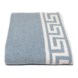 Eco Greek Key Throw-Blue Pond - There's something so chic and classic about a Greek key motif. We love how it's incorporated into this soft and beautifully crafted throw blanket. Use it on a chaise or artfully draped at the end of a well-dressed bed to add instant glam to your room.