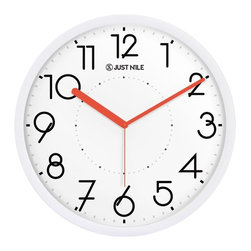 """JustNile - JustNile Silent Non Ticking Modern Wall Clock - 13"""" White Frame/Red Hands - Designed with style and comfort in mind, these JustNile wall clocks were made so you can keep track of time without the repetitive tick tocks driving you mad. The smooth-sweeping, ultra silent and precise movement let you sleep, read, do crossword puzzles, play chess and ponder life's mysteries in complete silence. Available in a variety of color combinations, there's sure to be a model that matches the decor in your home. They require one AA battery (not included) and are easy to hang."""