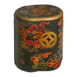 Golden Lotus - Tibetan Black Oval Flower Hand Painting Money Sign Stool - This is a lotus hand painting Tibetan stools which is made of solid elm wood.  The stool top had flower painting on it and side has money coin designed.