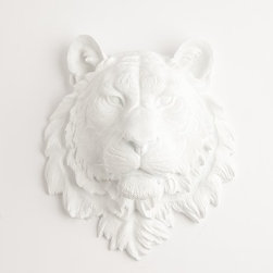 The Theodore Tiger Head, White Resin - I really love the whimsical vibe of this lion's head.