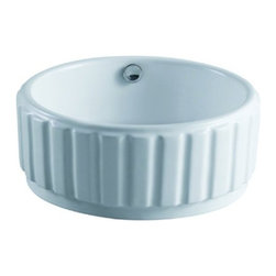 Kingston Brass - Italiano White China Vessel Bathroom Sink with Overflow Hole EV7129 - This vessel sink features a sleek circular curves with unique vertical indentations designed around the body to give an elegant look. The sink functions as a tabletop mount installation and includes a chrome-plated overflow hole on the inner front of the basin. Made from the finest vitreous china material, the sink is made to prevent from scratching or chipping. Manufacturer: Kingston BrassModel: EV7129UPC: 663370097560Product Name: White China Vessel Bathroom Sink with Overflow HoleCollection / Series: ItalianoFinish: WhiteTheme: ClassicMaterial: CeramicType: SinkFeatures: Finest vitreous china vessel with high chemical and thermal shock resistance