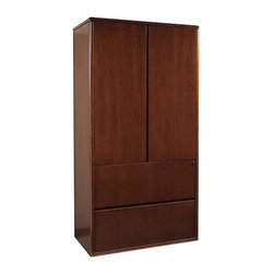 Office Star - Two Door Storage Cabinet w Two Drawer Lateral - Made of Wood. Select hardwood veneers, book-matched. Solid hardwood edges. Cherry finish with medium sheen. Radius wood edges on tops and modesty panels. Compound radius corners on tops. Common grain direction on tops of all components of L and U workstations. Pictured in Cherry Wood. Some assembly required. 37 in. W x 19 in. L x 70 in. H