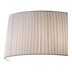 """Masiero - Masiero Oval Wall Sconce - The Oval wall sconce    by Masiero has been designed by Studio Stile Masiero.     Conical light with a white febric over a metallic frame. Elegant     shape,focusing in of fabric towards a central diffuser. Elegant with     simplicity and verve.   Product description: The Oval wall sconce    by Masiero has been designed by Studio Stile Masiero.     Conical light with a white febric over a metallic frame. Elegant     shape,focusing in of fabric towards a central diffuser. Elegant with     simplicity and verve.  Details:                                     Manufacturer:                                      Masiero                                                     Designer:                                     Studio Stile Masiero                                                                  Made in:                                     Italy                                                                  Dimensions:                                      Height: 8.3"""" (21 cm) X Diameter: 15.8"""" (40 cm) X Depth: 7.9"""" ( 20 cm )                                                                   Light bulb:                                     2 X E14 Max 40W Icandescent, 2 X 9W Energy Saving                                                                               Material:                                      Aluminum"""
