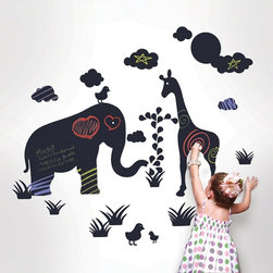 Products - Jot down your to-do list or a zooful of silly faces on chalkboard jungle wall decals with wildlife flair.
