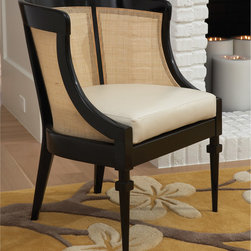 "Global Views - Global Views Black Cane Chair - A black lacquer finish meets definitive texture in a Global Views side chair that looks as traditional as it does modern. A natural cane back provides a warm juxtaposition to glossy alder wood, while circular embellishments upon extra-thin front legs provide unique character. 24.5""W x 20""D x 33""H ; Natural cane and alder wood; Ivory cowhide cushions; Made of natural materials and shipped with recyclable packaging"
