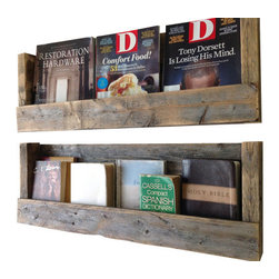 (del)Hutson Designs - Refined Texas Barn Wood Shelves, Set of 2 - This wall shelf brings style and originality to any home. The reclaimed wood not only saves a tree but also adds texture and beauty to your walls. We lightly sand the the wood to bring out the lighter