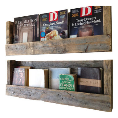 (del)Hutson Designs - Refined Texas-Barnwood shelves set of 2 - This wall shelf brings style and originality to any home. The reclaimed wood not only saves a tree but also adds texture and beauty to your walls. We lightly sand the the wood to bring out the lighter